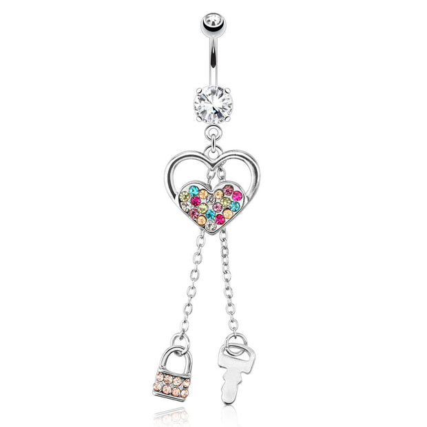 Rainbow Paved Duo Heart With Lock & Key Dangling Belly Ring