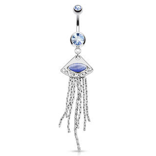 Powder Blue Cats Eye Trinagle With Cubic Zirconia Dangling Navel Ring