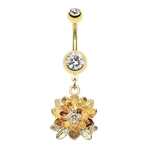 Golden Divine Lotus Dangle Belly Button Ring