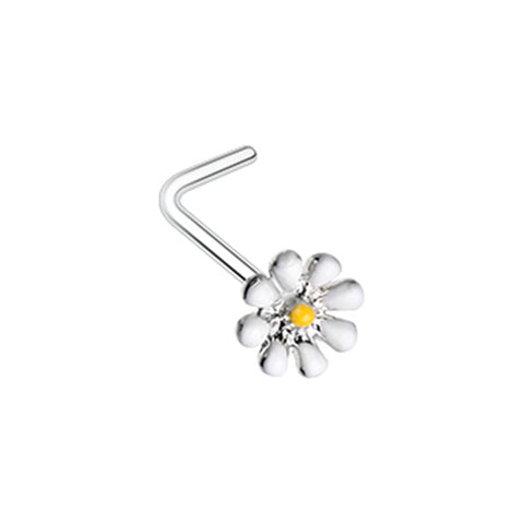 Dainty Daisy Enamel L Shape Nose Ring