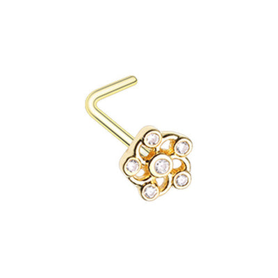 Flower L Shape Ring Stud