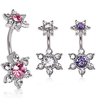 Sparkling Double Flower With Multi Cubic Zirconia Fixed Belly Ring