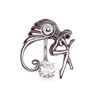 Midnight Fairy With Solitaire Cubic Zirconia Top Down Belly Ring