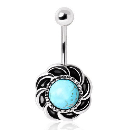 Vintage Natural Turquoise Sun Burst Fixed Belly Ring