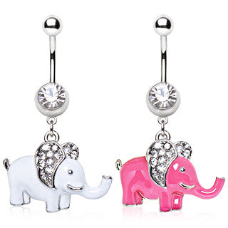 Elephant With Paved Cubic Zirconia Gems Dangling Animal Navel Ring