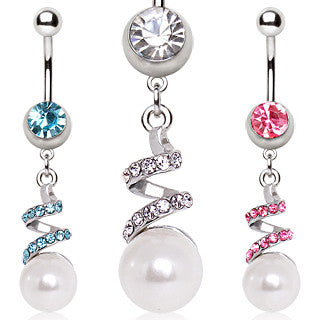 Spiralling Ribbon With Paved Cubic Zirconia Gems Dangling Belly Ring