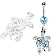 Turtle Paved With Cubic Zirconia Gems Dangling Animal Navel Ring
