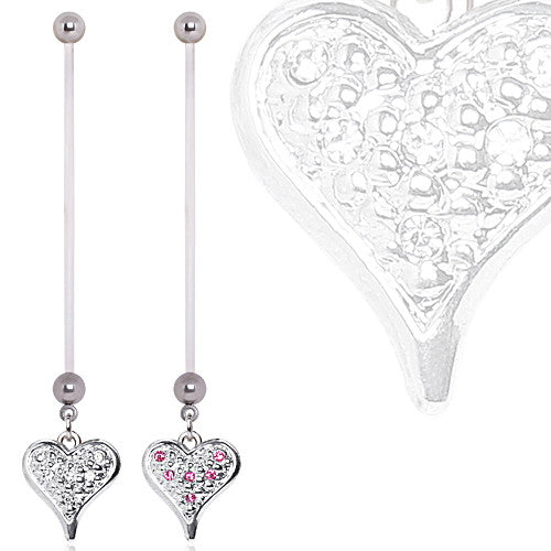 BioFlex With Sparkling Paved Heart Dangling Pregnancy Belly Button Ring
