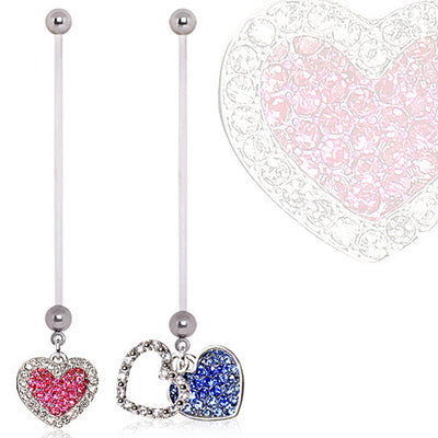 Two Toned Crystal Double Heart Dangling Pregnancy/Maternity Navel Ring
