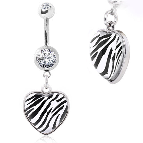 Zebra Print Wild At Heart Gemmed Dangling Belly Ring