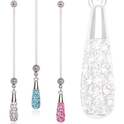 Cubic Zirconia Paved Tear Drop Pregnancy Maternity Belly Ring