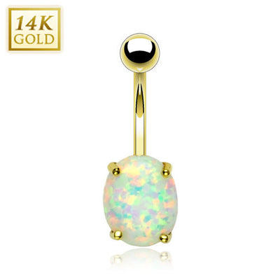 Petite 14k Solid Yellow Gold With Opal Stone Navel Ring