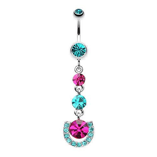 Vivacious Crystals Dangling Belly Ring