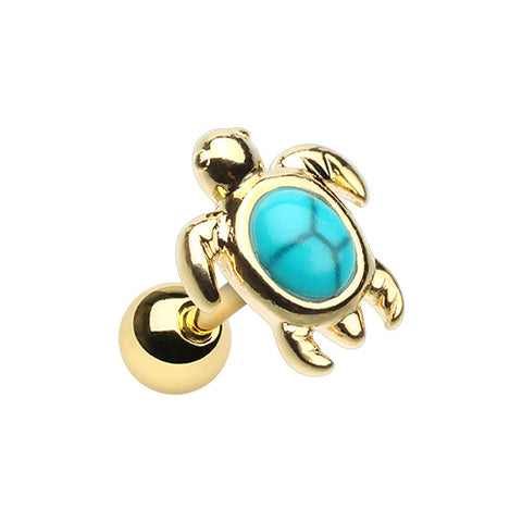 Golden Turquoise Turtle Tragus Cartilage