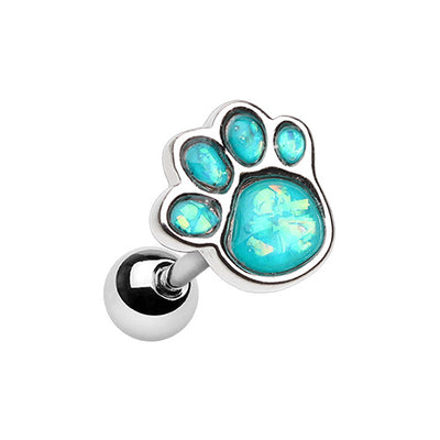 Animal Lover Opal Paw Print Tragus Cartilage