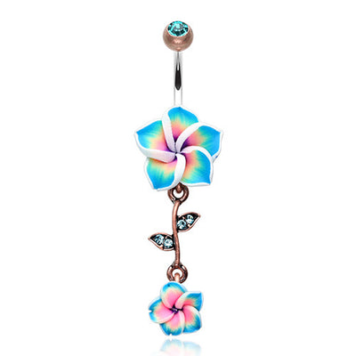 Vintage Hawaiian Flower Dangle Belly Ring