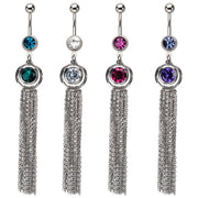 Double Gleaming Cubic Zirconia Gems With Long Tassel Chains Dangling Navel Ring