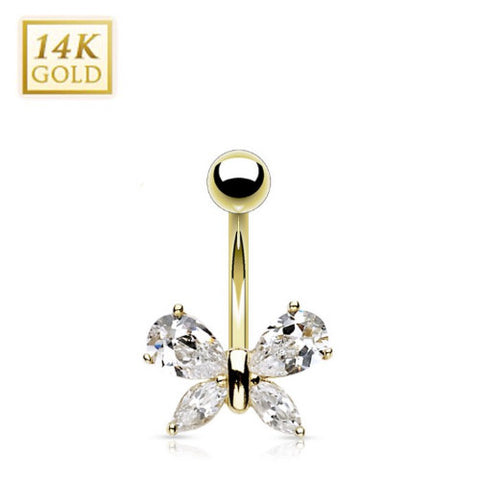 Crystal Butterfly 14k Solid Gold Belly Ring