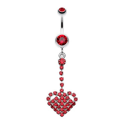 Falling For You Journey Heart Dangle Belly Ring