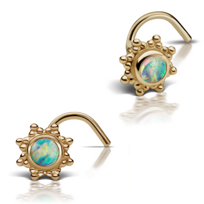 Designer Maria Tash Opal Starburst 14k Gold Nose Screw