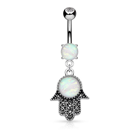 Bohemian Opalite Hamsa Belly Dangle