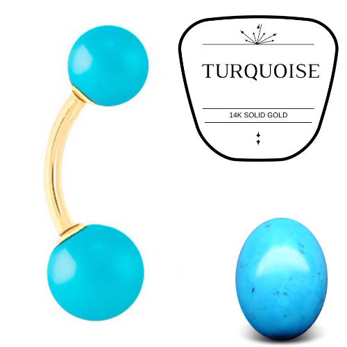 Turquoise Stone 14k Gold Belly Bar