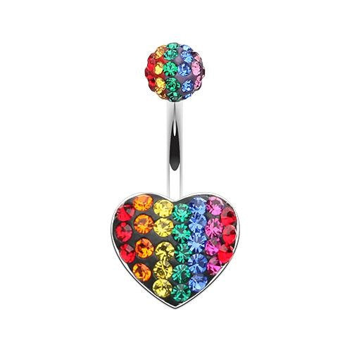 Rainbow Jewelled Tiffany Heart Fixed Navel Ring