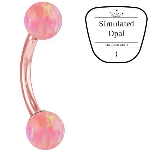 14k Rose Gold Soft Pink Opal Belly Button Ring