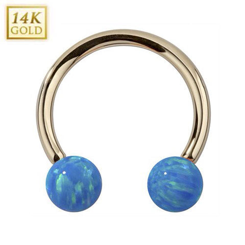 14K Solid Yellow Gold Circular Barbell with Blue Opal