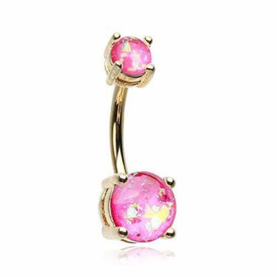 Glam Pink Delight Opal Golden Belly Bar