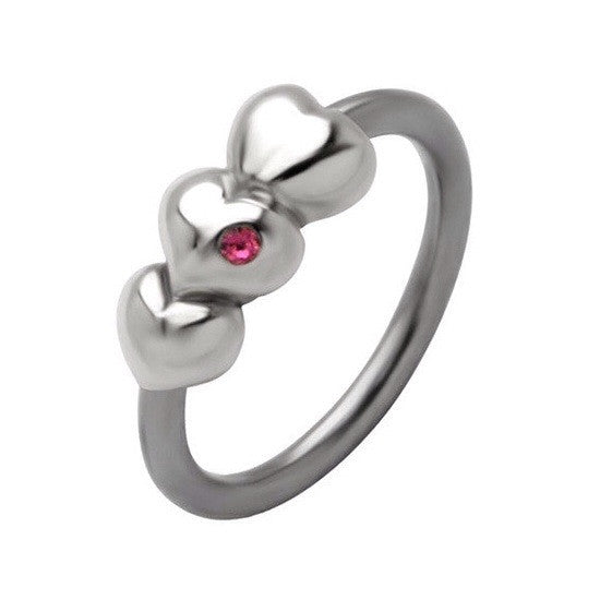 Triple Heart With Cubic Zirconia Gem Captive Navel Ring