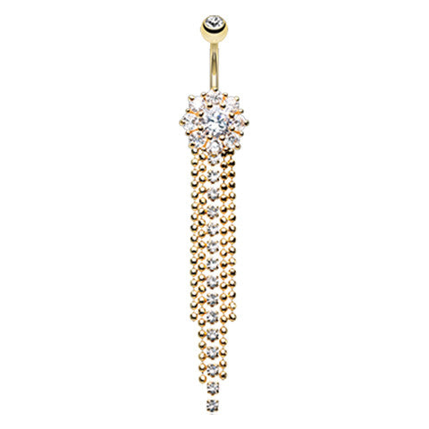 Extra Long Dazzling 14K Plated Belly Button Ring