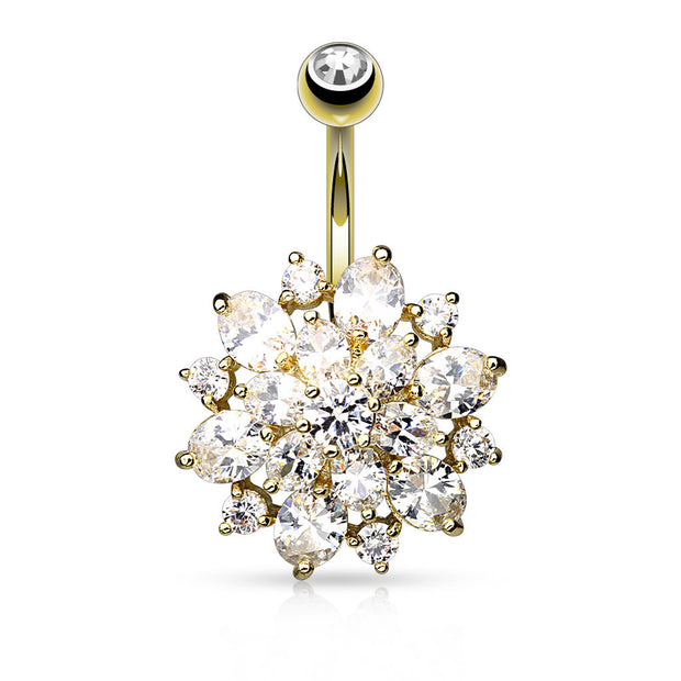 Champagne & Ice Cluster Belly Button Ring