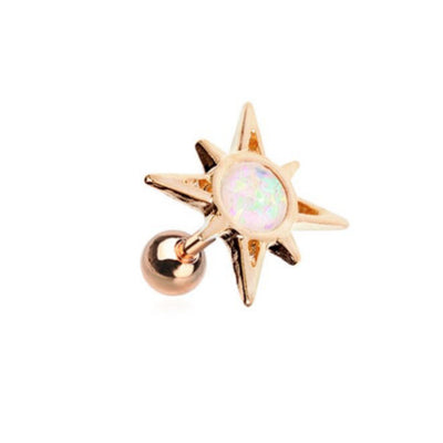 Opal Sunburst Rose Gold Tragus Cartilage Earring