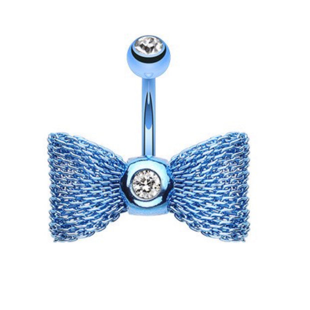 Cool Blue Mesh Bow Belly Bar