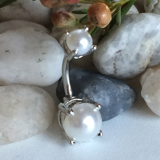 Silver Glamour Pearl Belly Bar