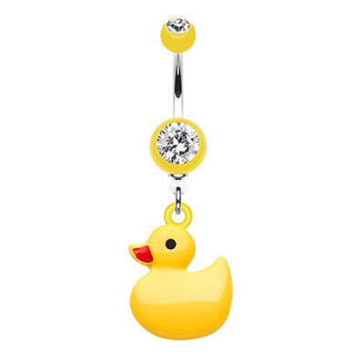 Cute Yellow Rubber Duck Dangle Belly Bar
