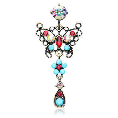 Vintage Reverse Butterfly Belly Piercing Ring