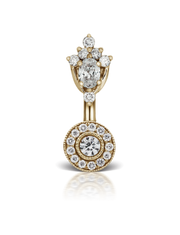Diamond MT Tiara & Ice Pave 18k Gold Belly Bar