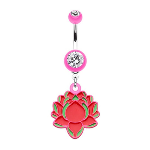 Bright Pink Lotus Acrylic Dangle Belly Button Ring