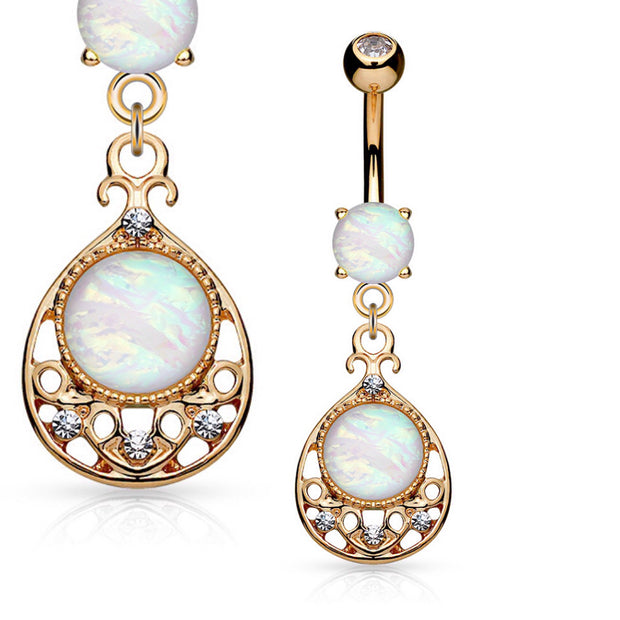 Vintage Rose Gold Glitter Opal Belly Dangle