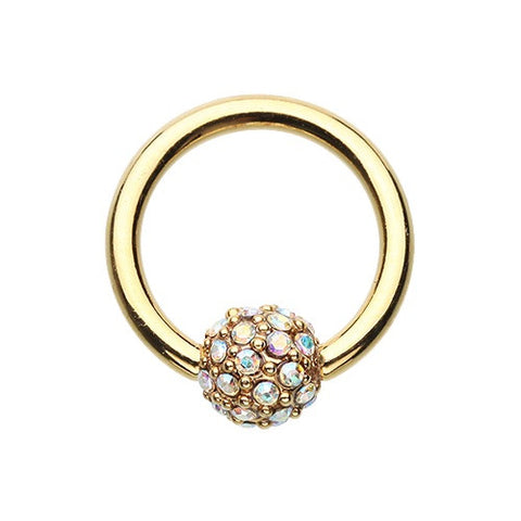 Golden Tiffany Diamantè Pave Captive Navel Ring