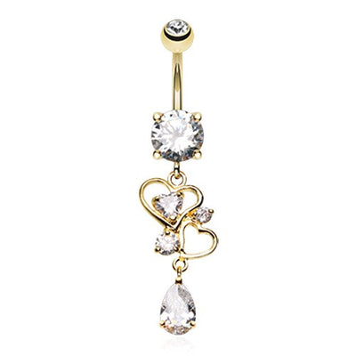 """Always Be Mine"" Love Heart Drop Belly Dangle"