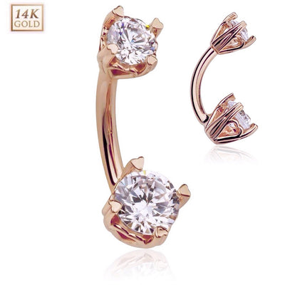 Hidden Love 14k Rose Gold Belly Ring