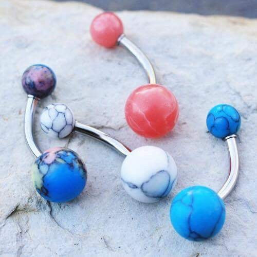 Stone Belly Piercing Rings