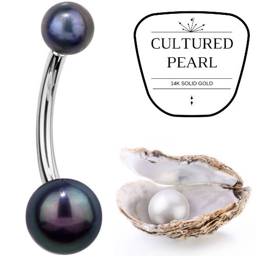 Cultured Peacock Pearl White Gold Belly Bar