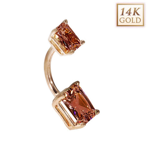 14k Rose Gold Emerald Cut January Birthstone Belly Ring