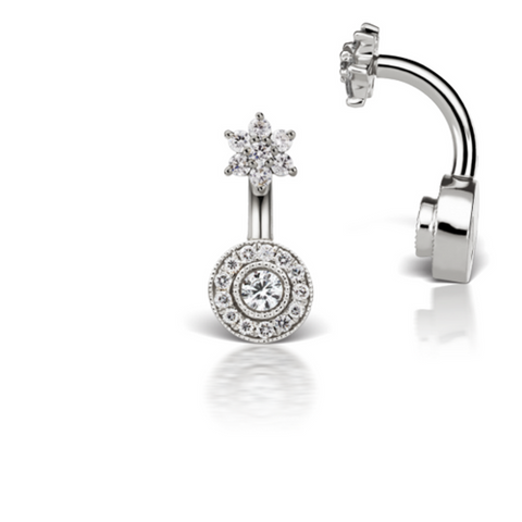 Diamond Flower & Pave 18k White Belly Piercing Bar