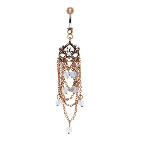 Antique Chandelier With Opaque Beads Boho Dangling Belly Button Ring