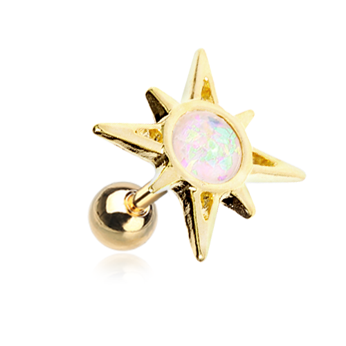 Golden Opal Sunburst Tragus Cartilage Earring